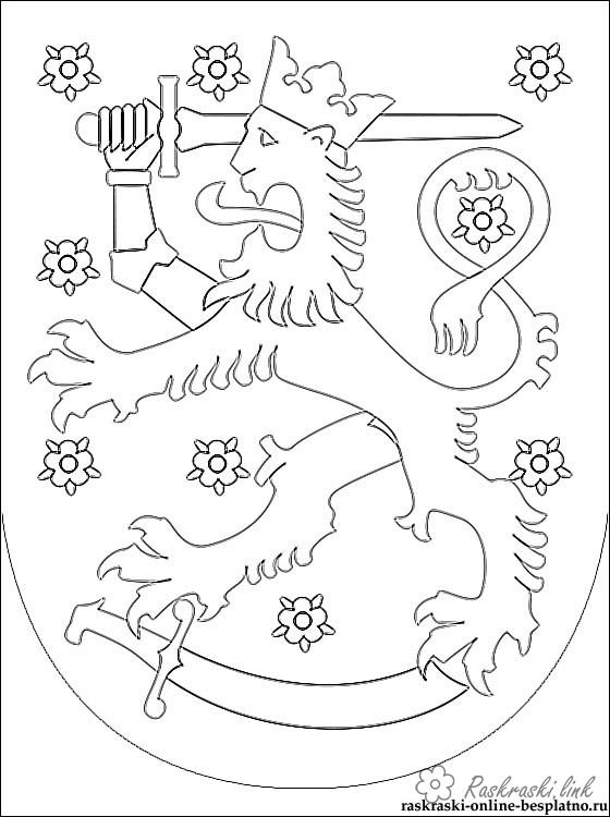Coloring Flag of Finland Coat of arms of Finland coloring pages