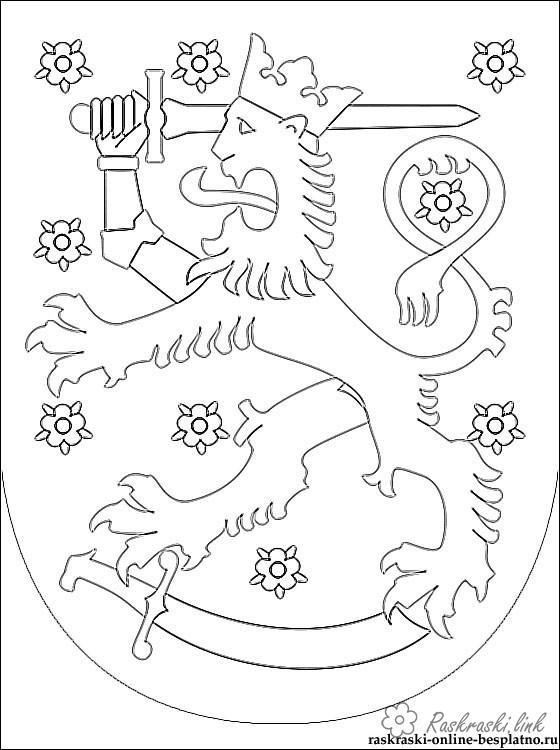 Розмальовки герб Герб Фінляндії розфарбування