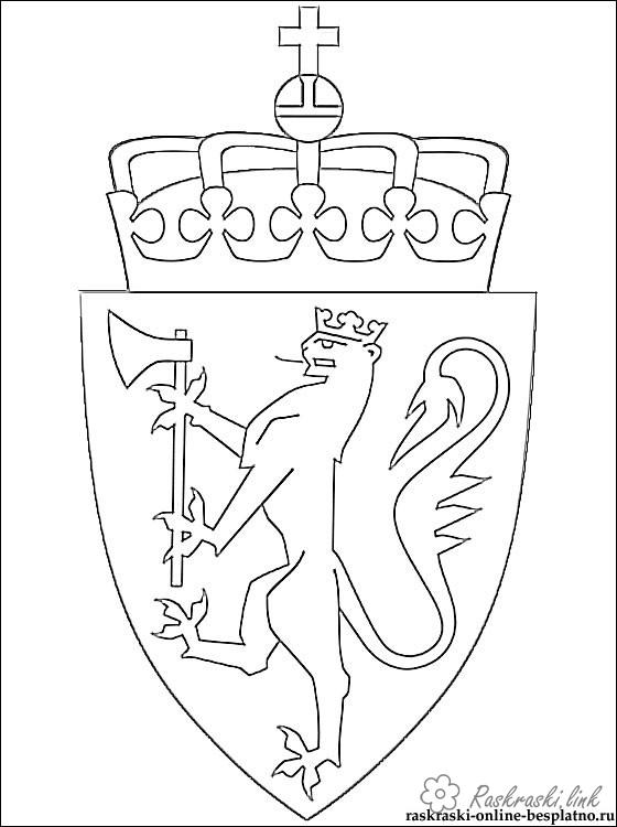 Coloring Flag of Norway Coat of arms of Norway coloring pages