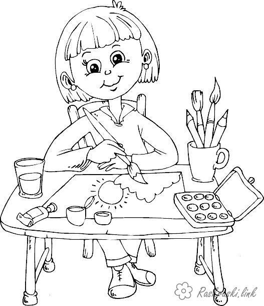 Розмальовки дівчинка Свято 1 червня День захисту дітей дівчинка малює малюнок