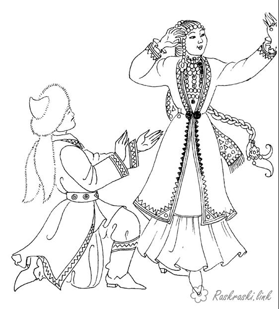 Coloring The peoples of the world Kazakh national costumes, the Kazakh dress, coloring pages