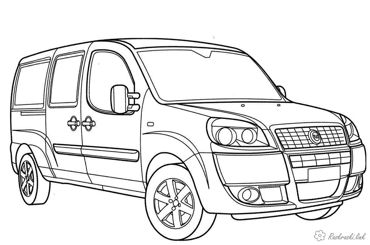 Раскраски машины FIAT фургон семейный раскраска для мальчиков