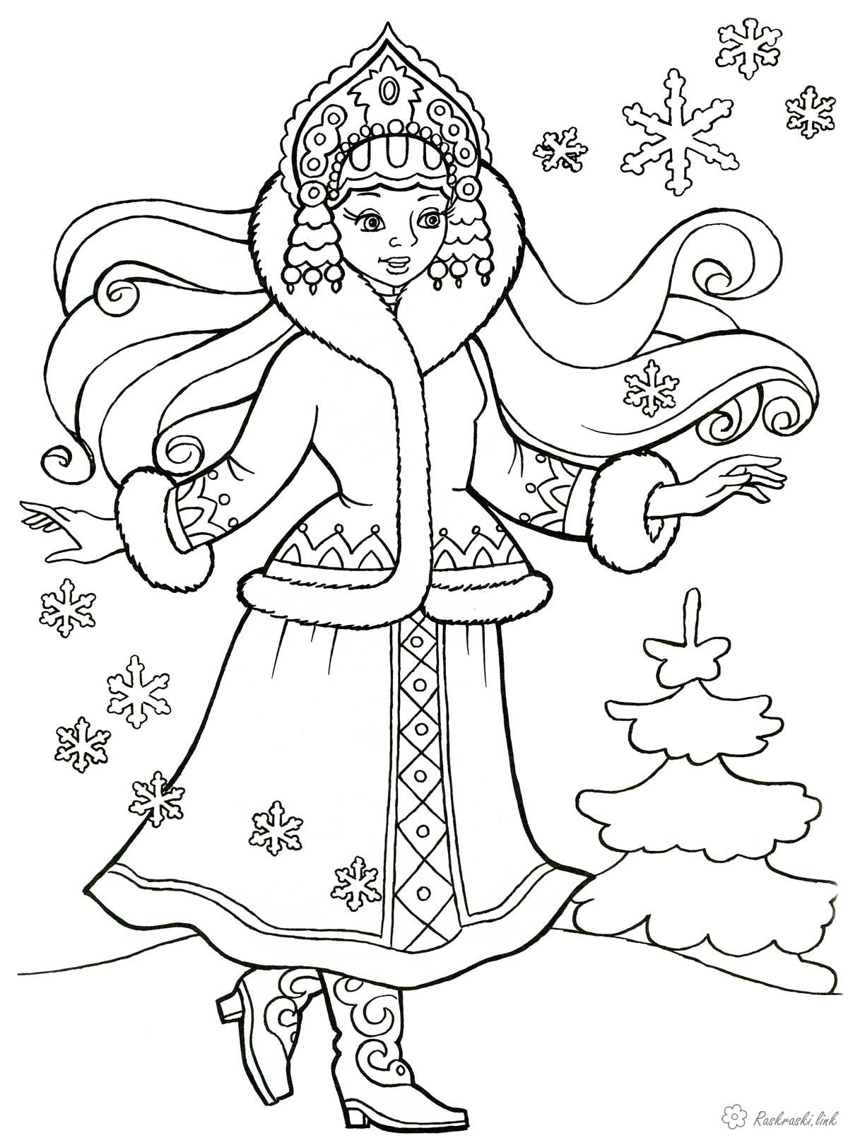 Coloring National costumes peoples of Russia costumes Russian girl in folk costume, coloring pages
