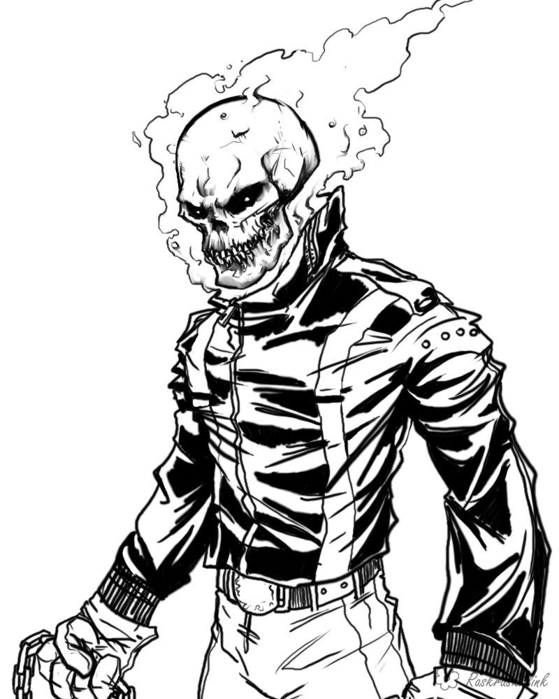 Coloring Superheroes coloring pages for boys, comic Ghost Rider