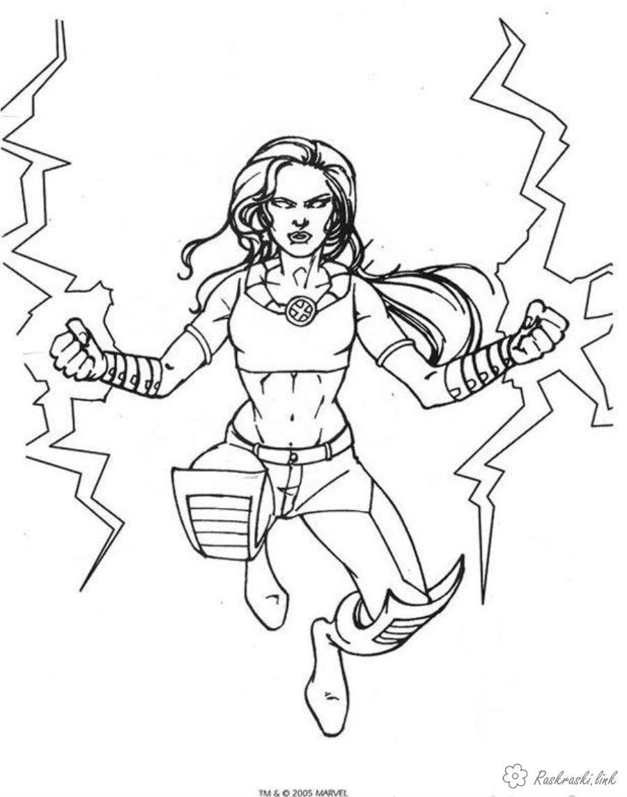 Розмальовки жінка розфарбування для хлопчиків, люди Ікс, жінка Шторм, супергерої