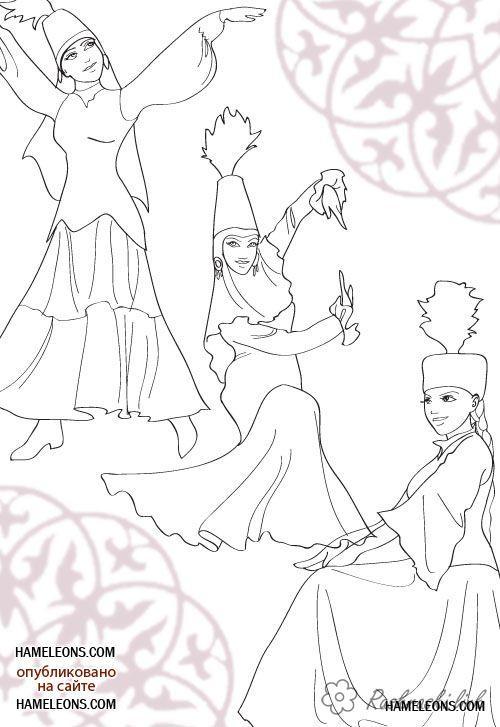 Розмальовки Астана дівчата в казахських національних костюмах розфарбування