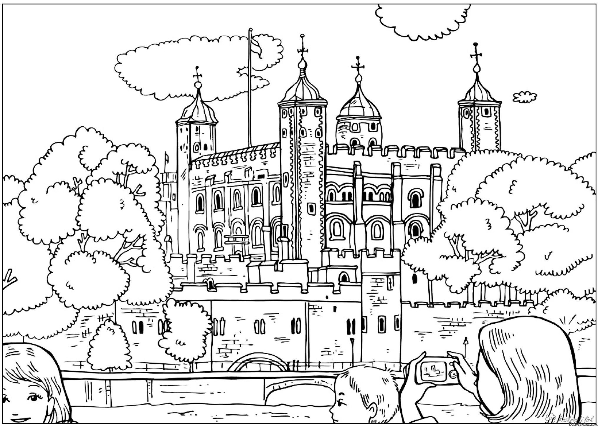 Coloring London England palaces coloring pages