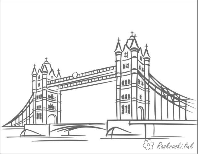Coloring London coloring pages Tower Bridge, England, London