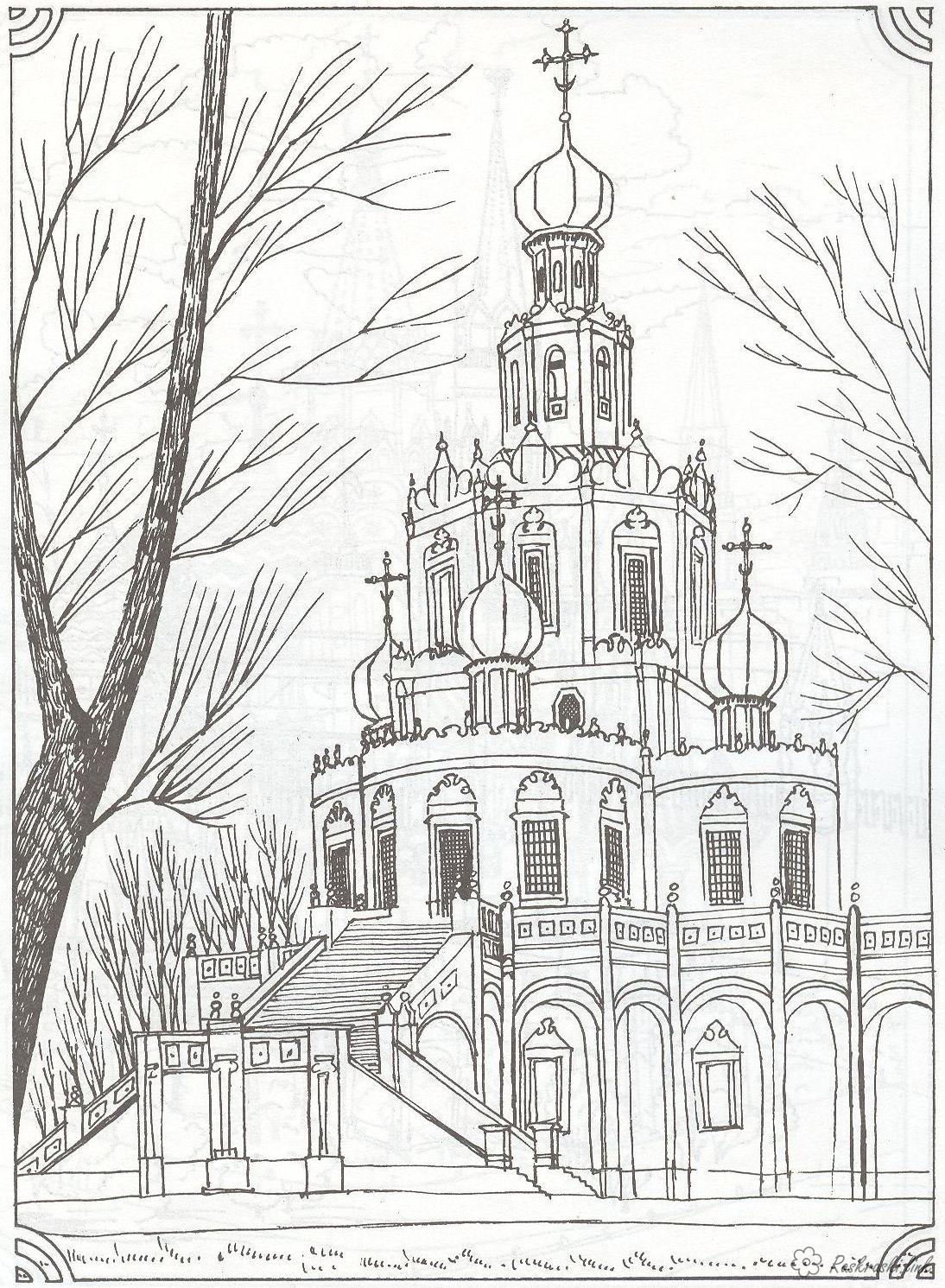 Coloring Moscow coloring pages Monastery in Moscow, Russia