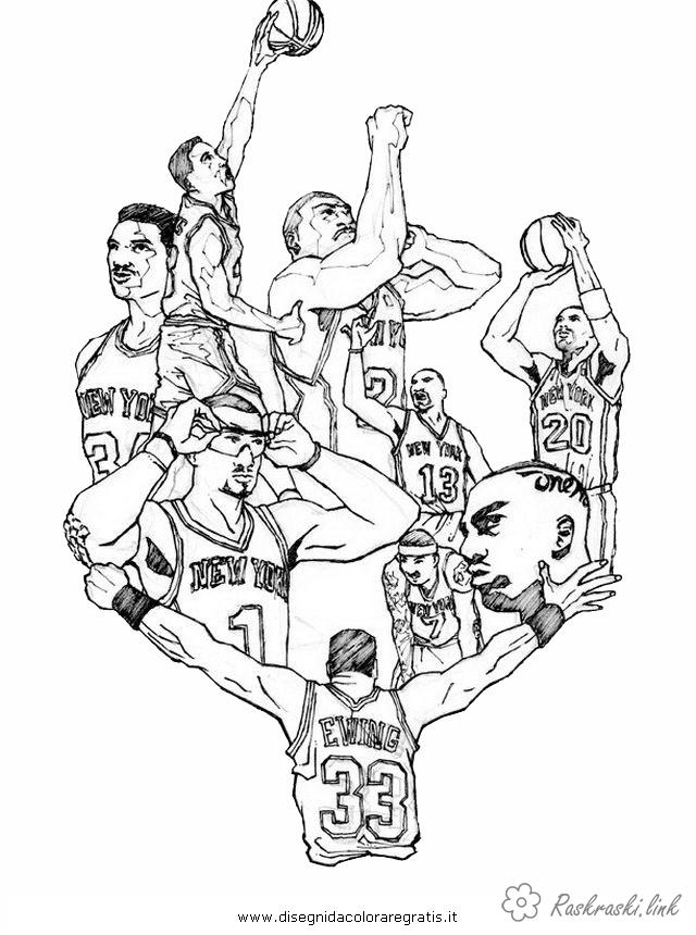 Розмальовки ігри Баскетболісти розфарбування, спортивні ігри розфарбування