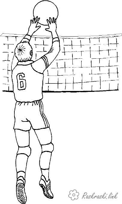 Розмальовки ігри Волейбол розфарбування, спортивні ігри