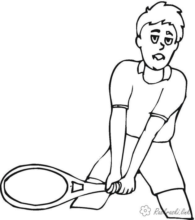 Раскраски теннисист Теннисист раскраска, теннис, олимпиада, спорт