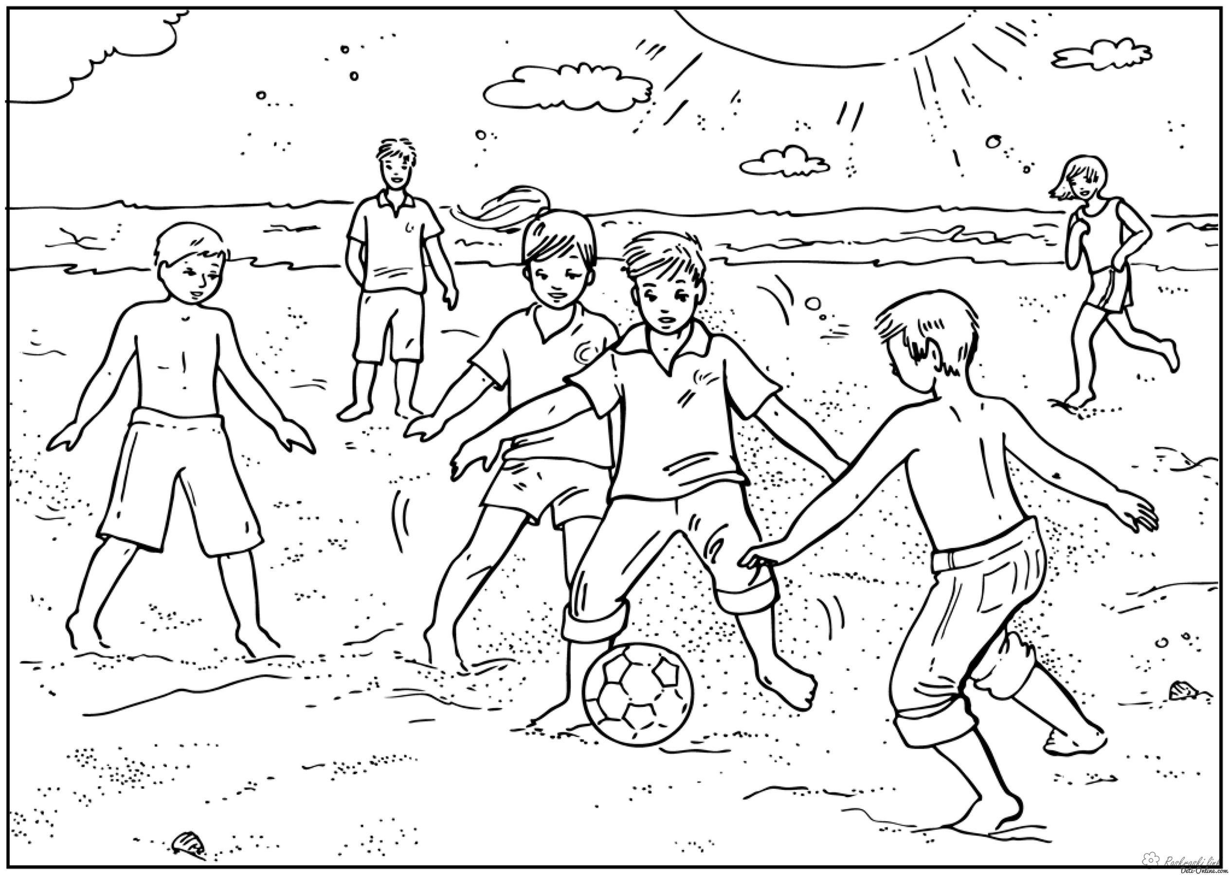 Coloring Football Football on the sand coloring pages, sports, Olympics