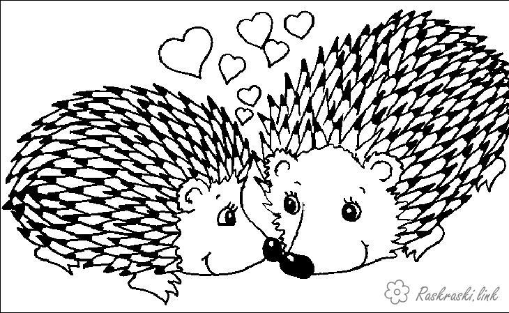 Розмальовки дві розфарбування для дітей, два їжачка, тварини, ліс, звірі