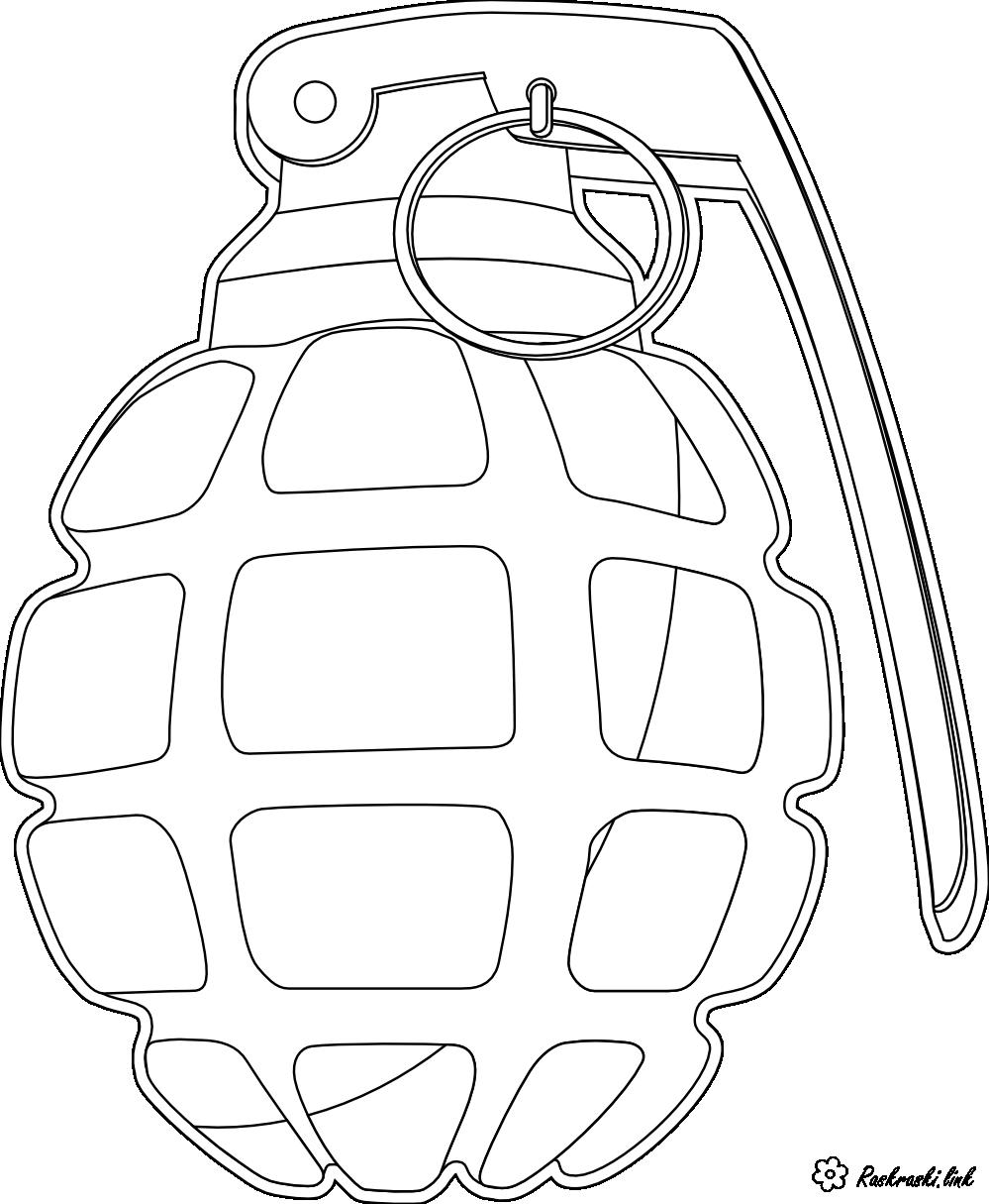 Coloring Weapons coloring pages for kids, guns, grenades