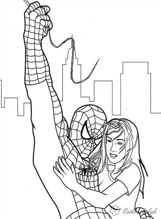 Розмальовки героїв розмальовки супер героїв, людина-павук, марвел
