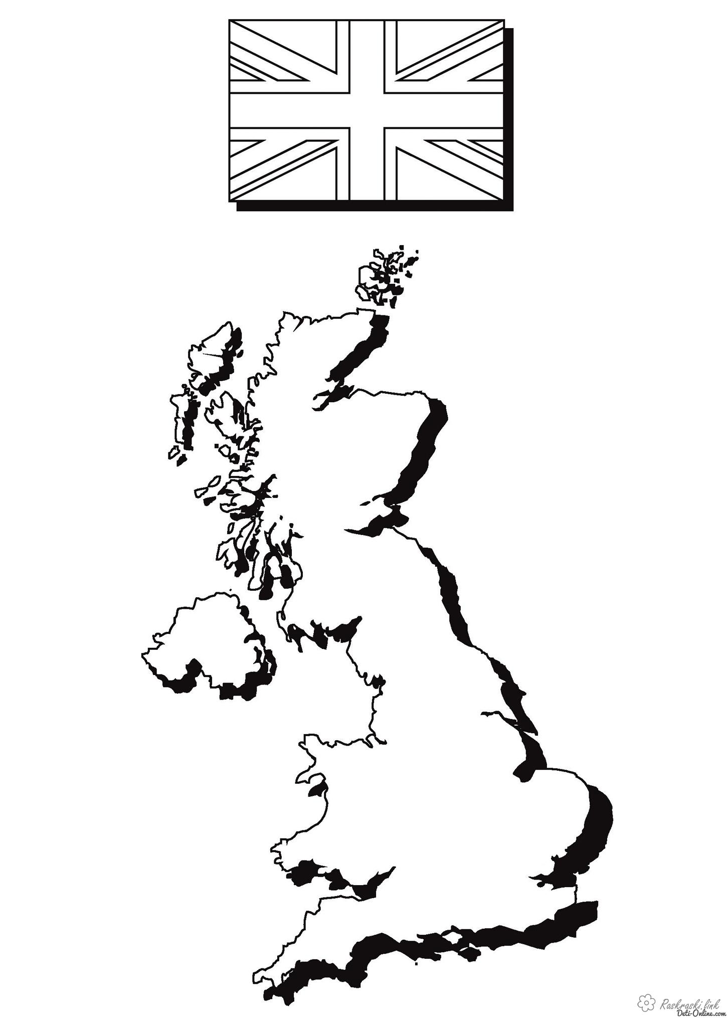 Coloring London coloring pages map and the flag of England