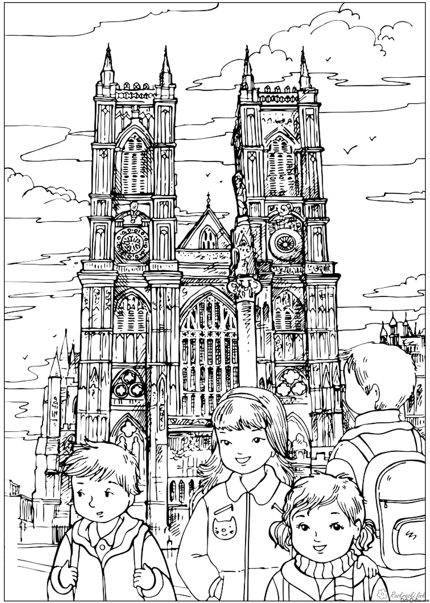 Coloring London coloring pages Westminster Abbey United Kingdom England