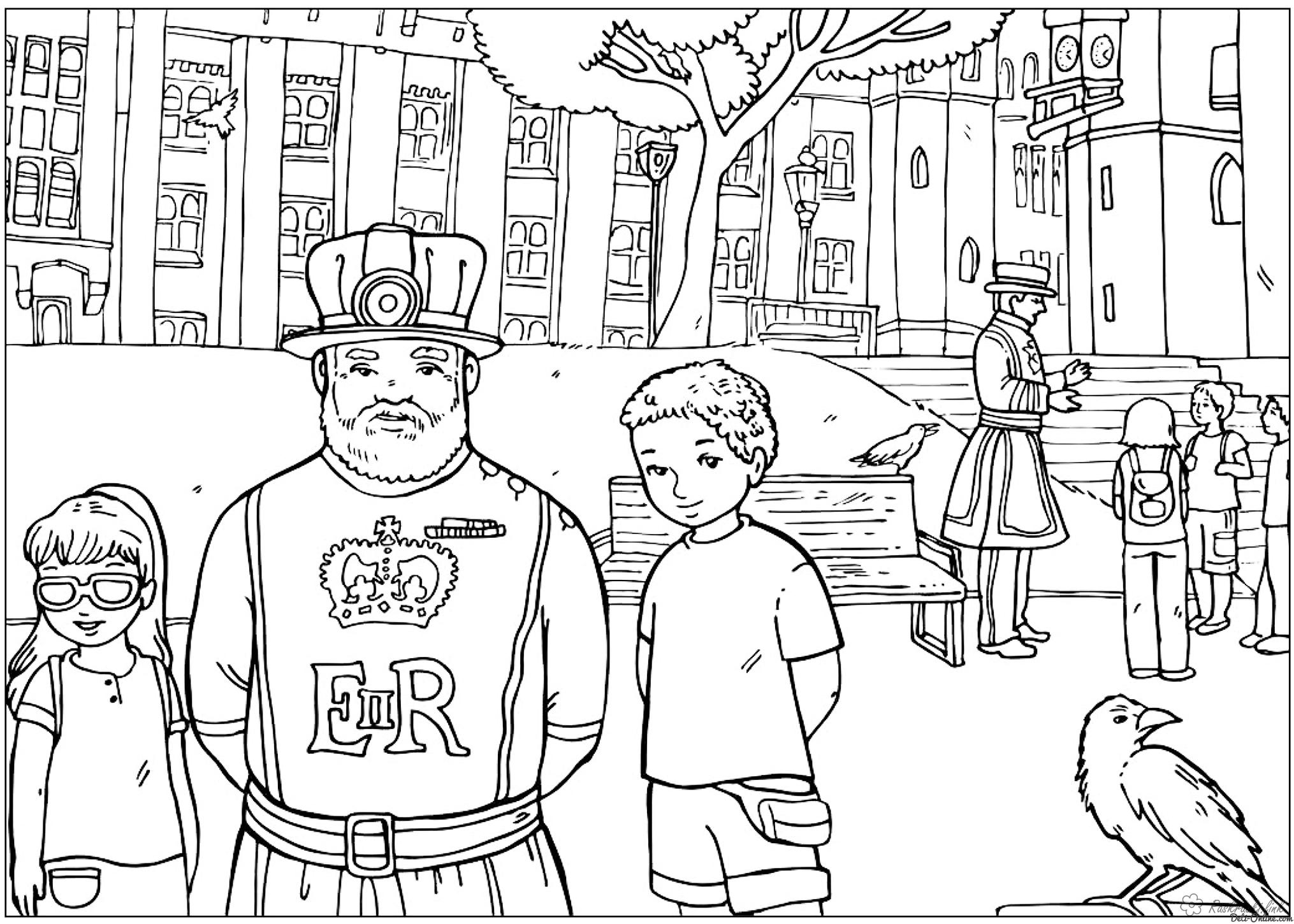 Coloring London coloring pages Yeomen - Guard Tower UK