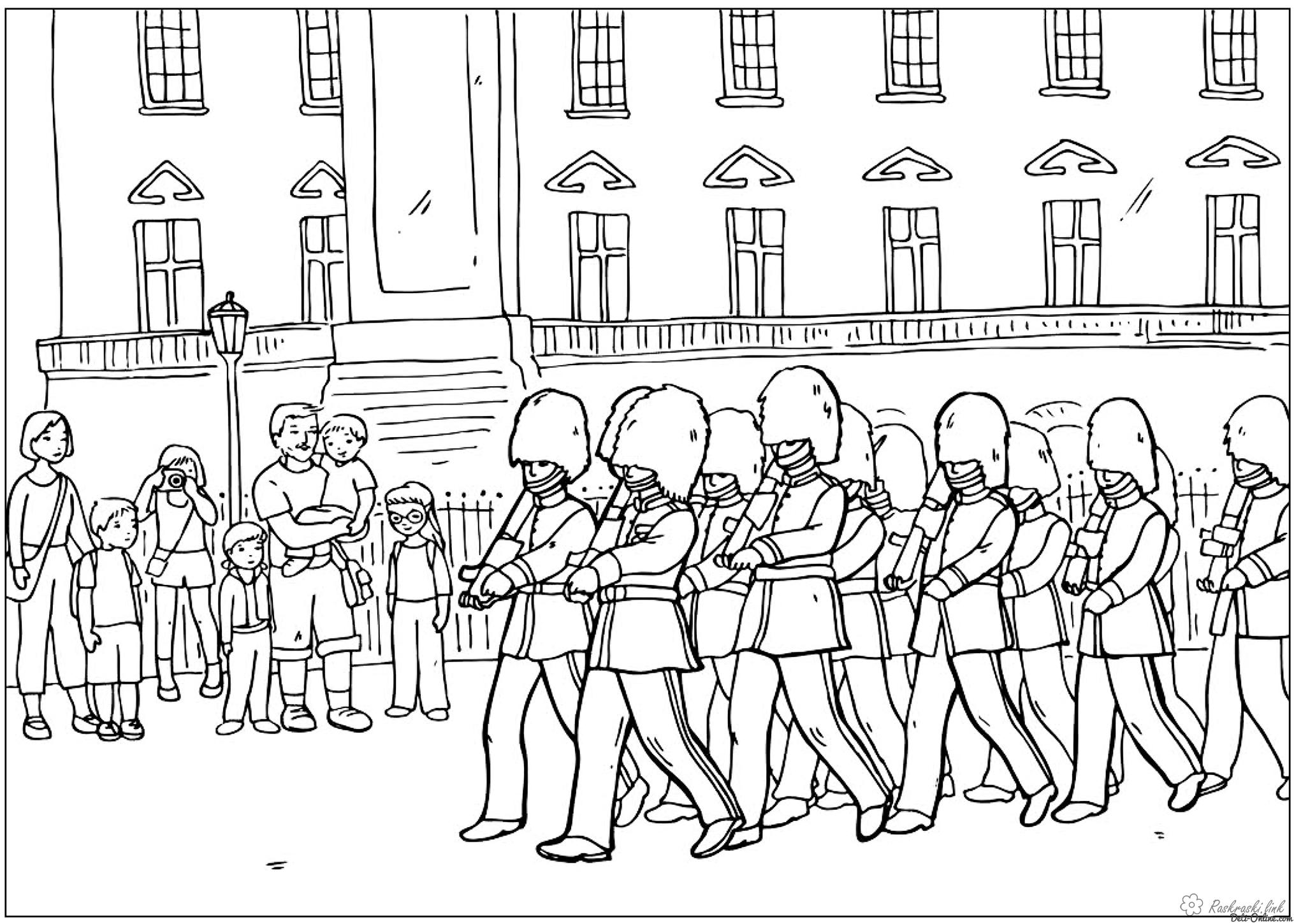 Coloring London coloring pages Velkobritaniya London Changing of the Guard