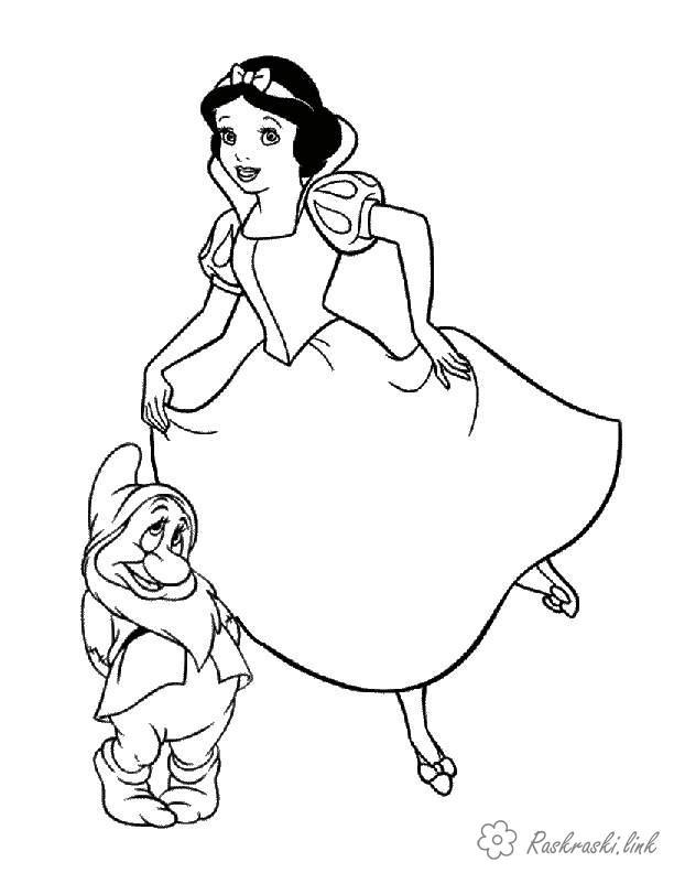 Розмальовки Уолт Дісней белоснежка, гномик, дисней