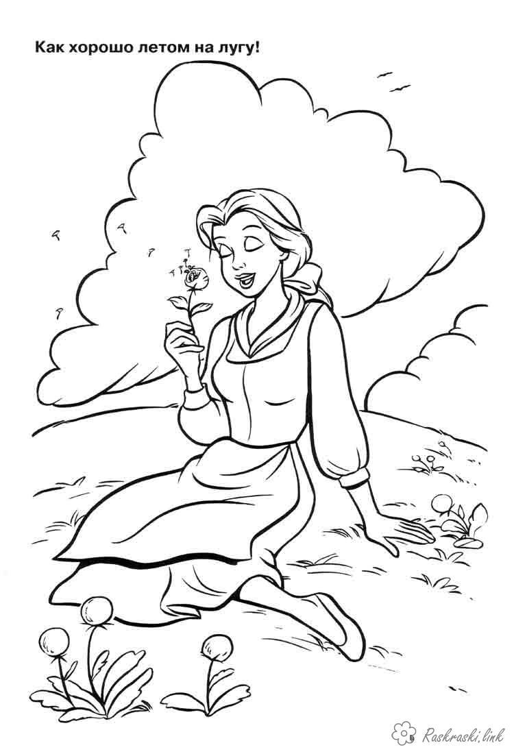 Розмальовки Уолт Дісней попелюшка, квіти, луг, природа