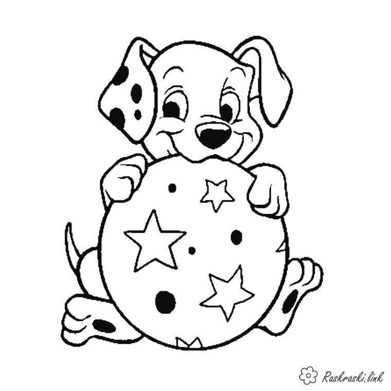 Раскраски мячик 101 далматинец, мультфильм, мячик