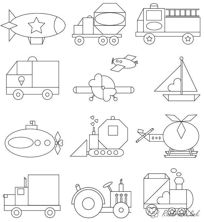 Раскрась геометрические фигуры Раскраски распечатать ...