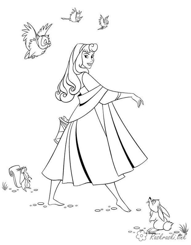 Розмальовки Уолт Дісней попелюшка, заєць, пташка, розмальовки