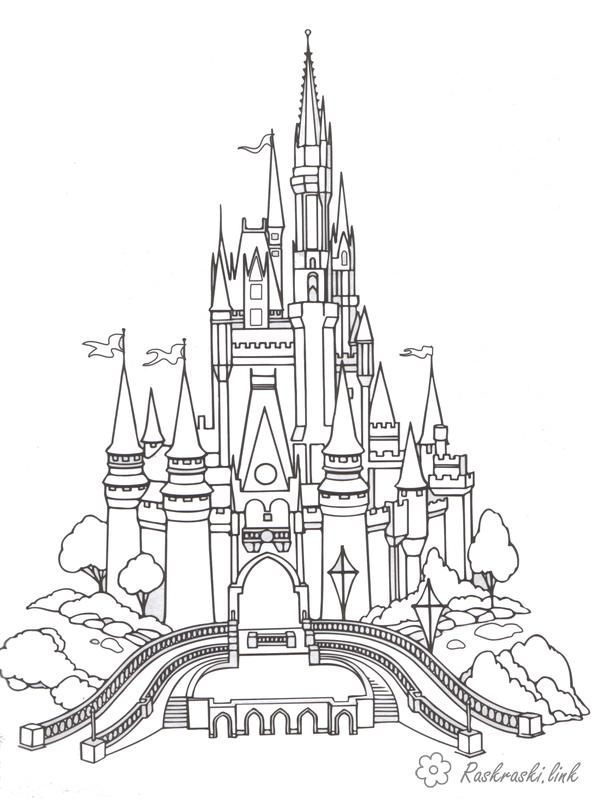 Розмальовки Уолт Дісней Палац попелюшки, дисней, розмальовки