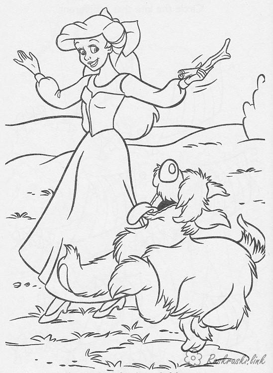 Розмальовки Уолт Дісней попелюшка, собачка, кісточка