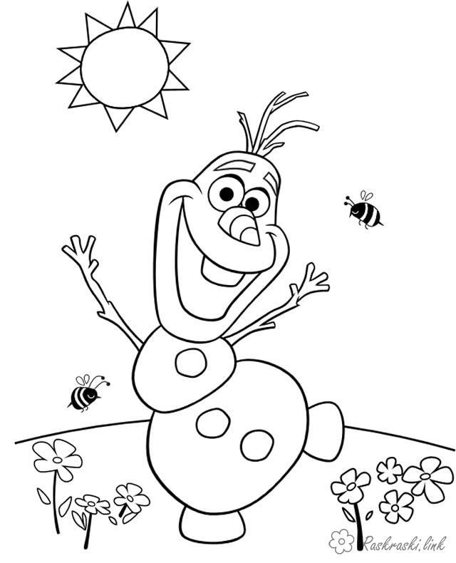Розмальовки Уолт Дісней холодне серце, сніговик, розфарбування