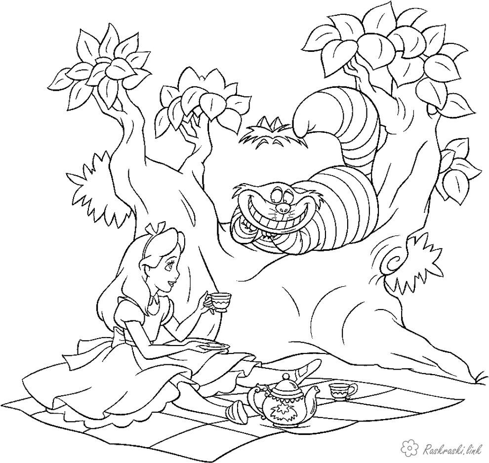 Розмальовки Уолт Дісней Аліса в країні чудес, кіт, дерево