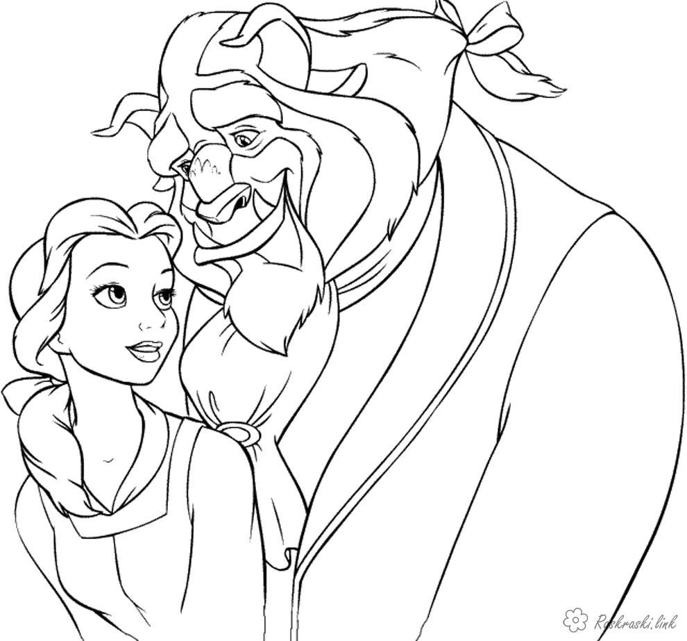 Розмальовки чудовисько Красуня і чудовисько