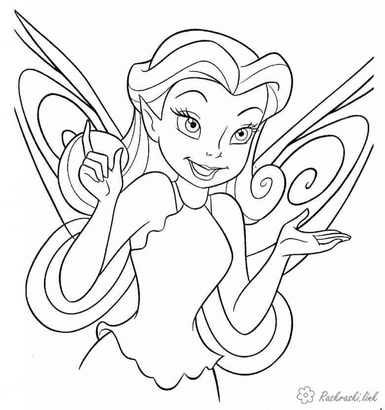 Розмальовки Уолт Дісней Розмальовка Дісней, фея, мультфільми