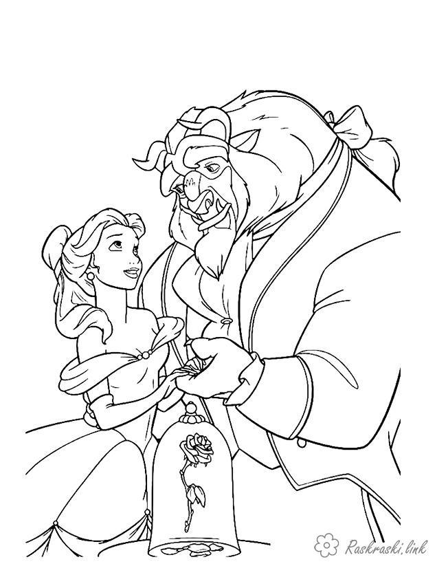 Coloring Walt Disney Beauty and the Beast, rose, coloring pages