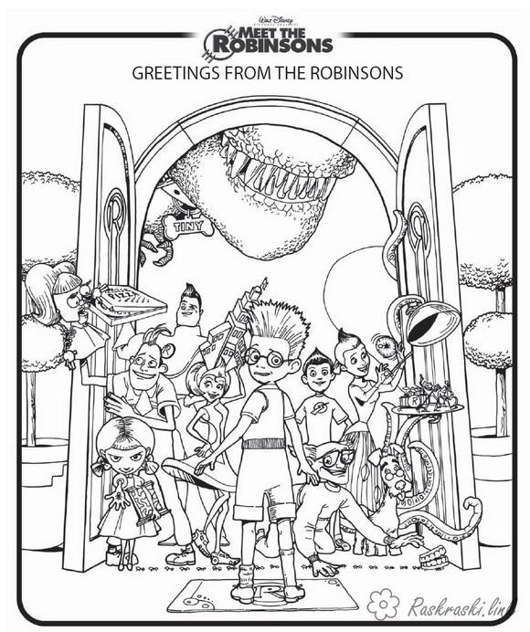 Розмальовки Уолт Дісней розфарбування в гості до Робінсонів, для дітей