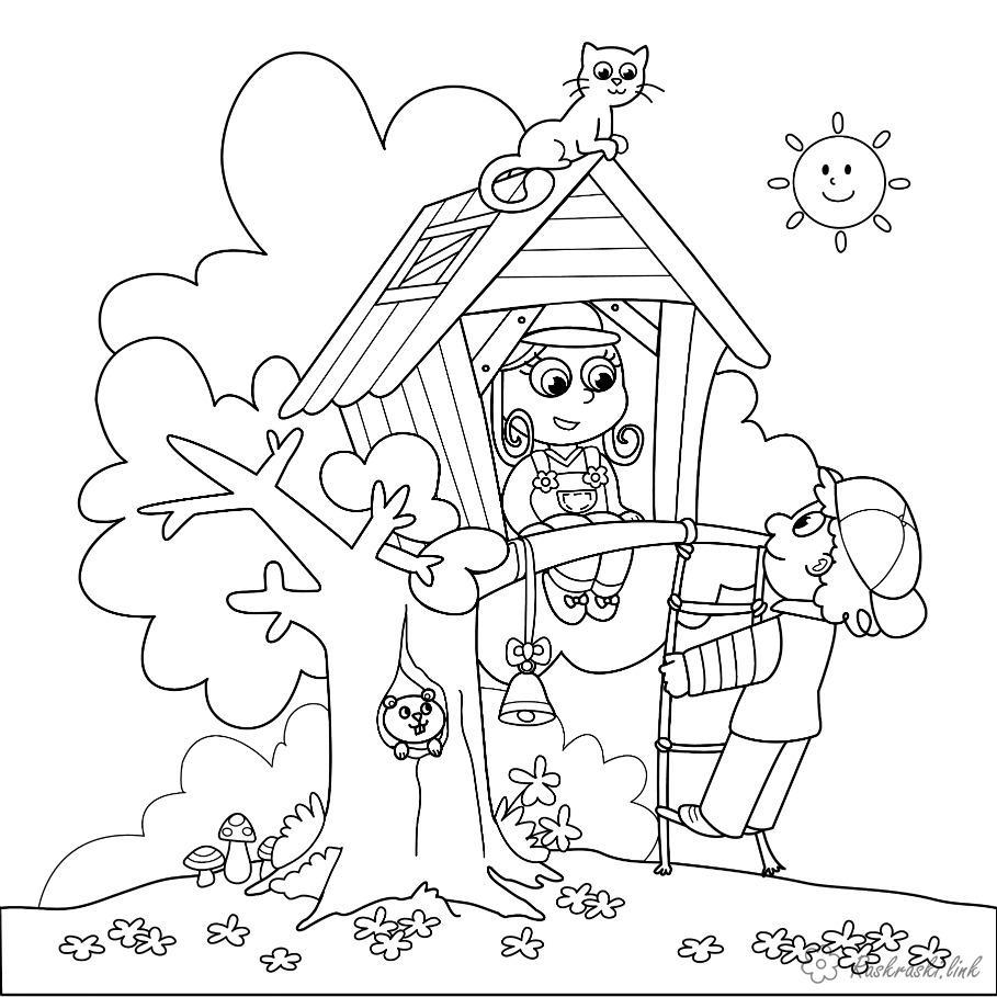 Раскраски дети праздник 1 июня день защиты детей дети играют дерево