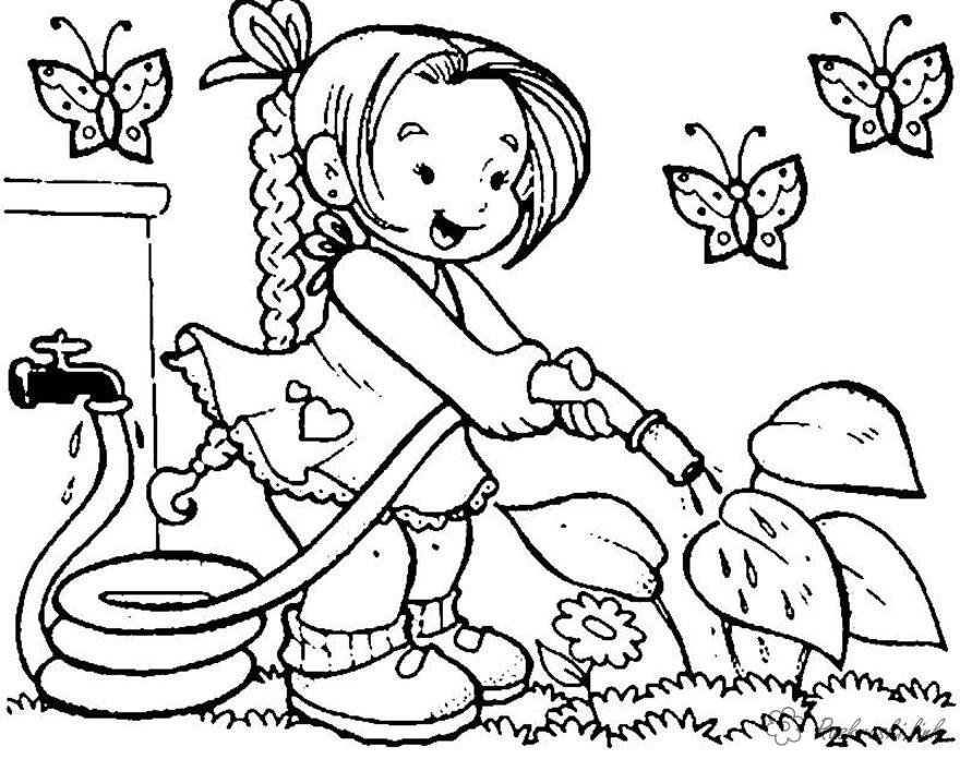 Розмальовки дівчинка Свято 1 червня День захисту дітей дівчинка поливати рослини город літо