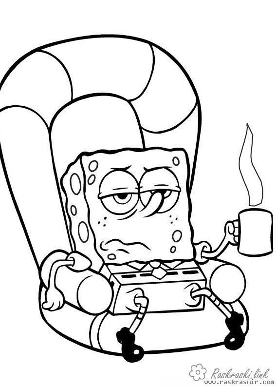 Coloring Spongebob SpongeBob, armchair, coffee
