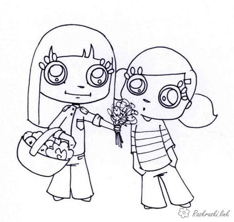 Розмальовки дівчатка Свято 1 червня День захисту дітей дівчинки квіти корзинка букет літо