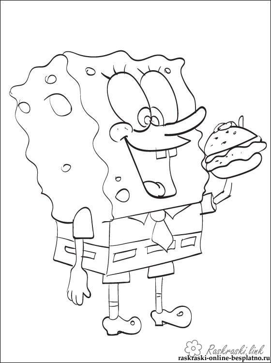 Розмальовки Губка Боб Губка Боб, гамбургер, розмальовки