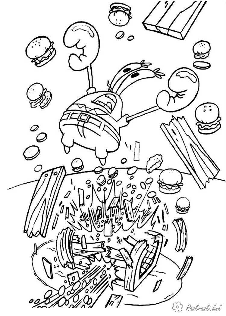 Розмальовки багато Містер Крабс, гамбургери