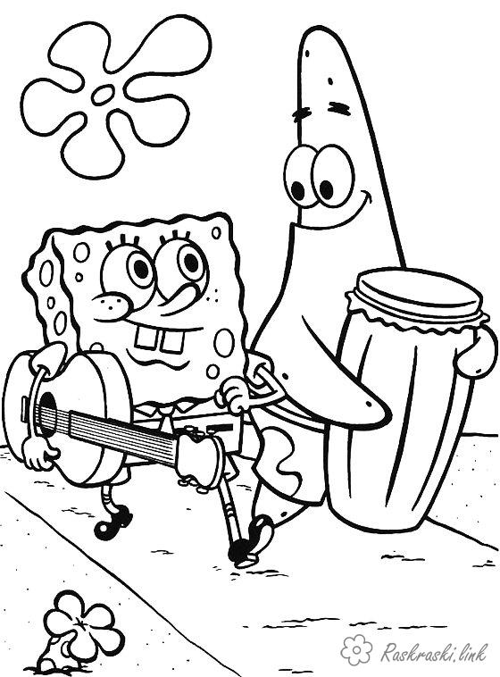 Розмальовки Губка Боб Губка Боб, Патрік, гітара, барабан