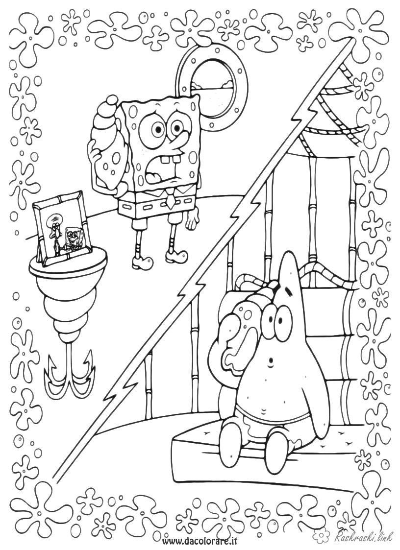 Розмальовки Губка Боб Губка Боб, Патрік, розмальовки для дітей