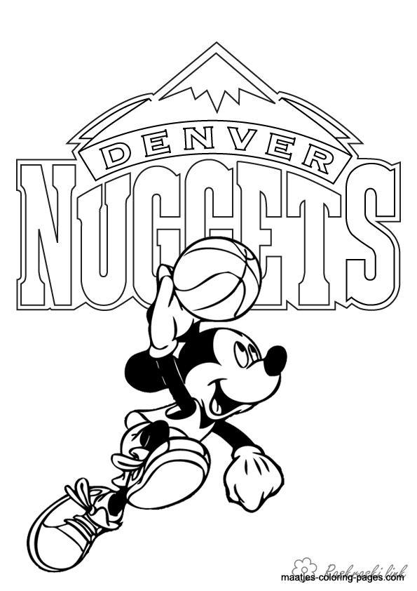 Розмальовки міккі Міккі Маус, баскетбол, емблема
