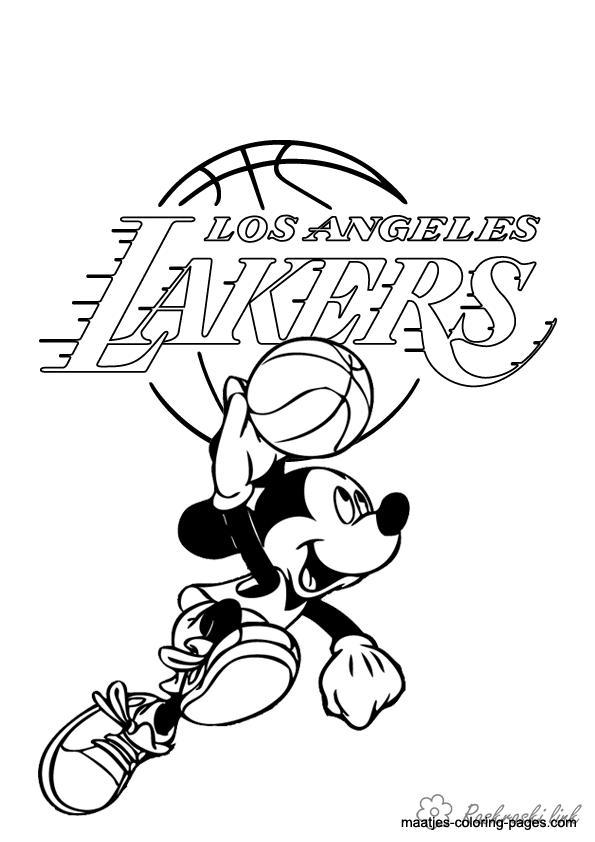 Розмальовки Баскетбол лос Ангели Лейкерс, міккі мау, спорт, баскетбол