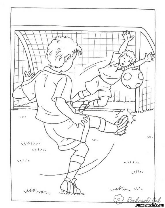 Coloring Football soccer, goalkeeper, gate, ball, sport