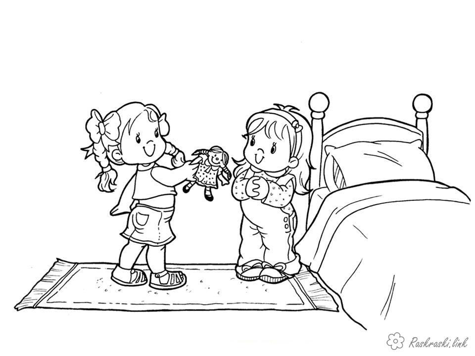 Розмальовки дівчатка Свято 1 червня День захисту дітей дівчинки подруги іграшка гра