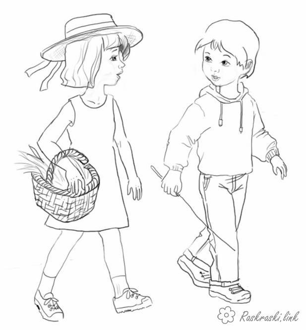 Розмальовки дівчинка Свято 1 червня День захисту дітей діти гра літо хлопчик дівчинка прогулянка корзинка